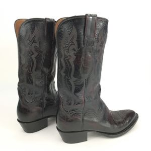 Lucchese 2000 Ladies Black Cherry Kangaroo Boot